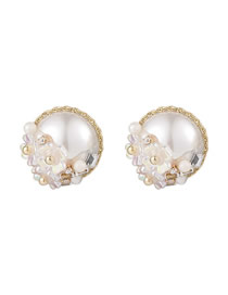 Fashion White Mother-of-pearl Micro-set Zircon Flower Earrings