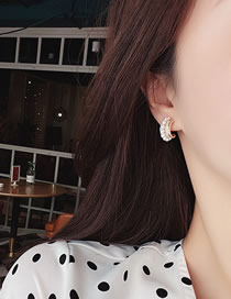 Fashion Golden Micro-set Zircon Pearl Semicircular Alloy Earrings