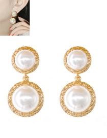 Fashion Golden Round Pearl Alloy Earrings