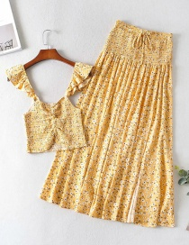 Fashion Yellow Printed Ruffled Pleated Elastic Top Skirt Suit