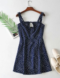 Fashion Navy Blue Pleated Dotted Print Openwork Dress