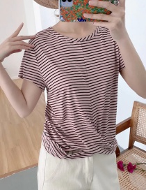 Fashion Leather Pink Striped Stitching Cross Short Sleeve Top