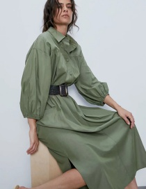 Fashion Armygreen Dress With Pleated Shirt And Belt
