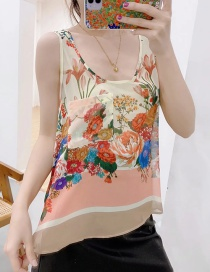 Fashion Color Floral Print Chiffon Sleeveless Top