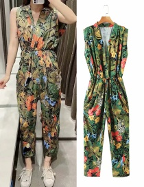 Fashion Color Printed Sleeveless Deep V-neck Pleated Jumpsuit