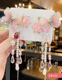 Fashion Pink Suit Fringe Pearl Crystal Resin Butterfly Children Hair Clip