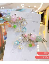 Fashion Color Mixing Resin Flower Pearl Alloy Hollow Children Hairpin Set