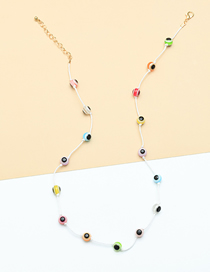Fashion Color Mixing Resin Eye Braided Alloy Necklace