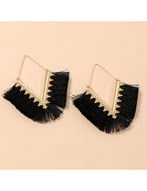 Fashion Black Fringe Alloy V-shaped Geometric Earrings