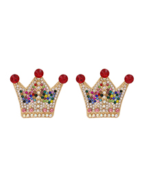 Fashion Red Crown Full Diamond Earrings