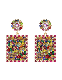 Fashion Color Square Diamond Pearl Flower Geometric Earrings