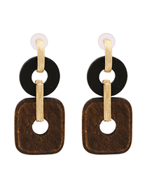 Fashion Brown Geometric Wood Alloy Earrings