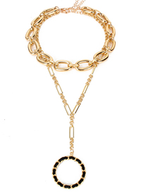 Fashion Golden Geometric Round Alloy Multilayer Necklace