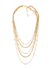 Fashion Golden Multilayer Thin Necklace With Diamond Chain