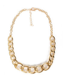 Fashion Golden Aluminum Chain Geometric Single Layer Thick Necklace