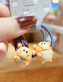 Fashion 1 Pair Of Little Monkeys Animal Resin High Elastic Rubber Band Hair Rope