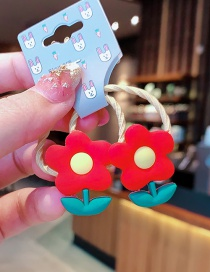 Fashion 1 Pair Of Small Flowers Resin Fruit Animal High Elastic Children Hair Rope