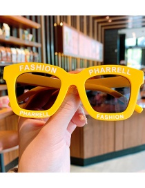 Fashion Yellow Children's Sunglasses With Anti-ultraviolet Letters