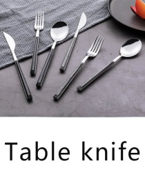 Fashion Black Wood Grain Knife Grain Stainless Steel Imitation Marble Grain Knife And Fork Spoon