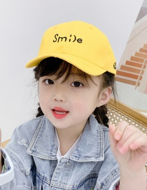 Fashion Yellow 2 Years Old To 12 Years Old Adjustable Duck Tongue Baseball Cap With Embroidered Shade (48cm-59cm)