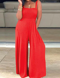 Fashion Red Square-neck Loose Sleeveless Pleated Wide-leg Jumpsuit