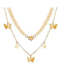 Fashion Golden Butterfly Pentagram Leaf Chain Multi-layer Necklace