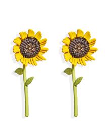 Fashion Sunflower Earrings Sunflower Diamond And Contrast Alloy Earrings