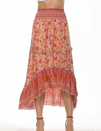 Fashion Brick Red Printing Printed Front Short And Long Back Stitching Waist Skirt