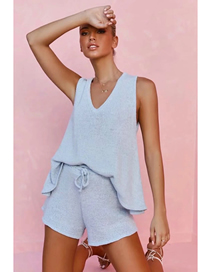 Fashion Blue Knitted V-neck Sleeveless Top Shorts Suit