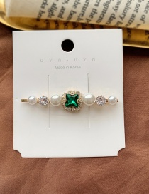 Fashion Dark Green / Imitation Pearl Clip Diamond-shaped Pearl-cut Crystal Geometric Alloy Hairpin
