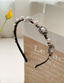 Fashion Milky Pearl-set Rhinestone Fine-edged Geometric Alloy Headband