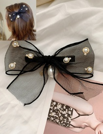 Fashion Bow Hair Clip Large Bow Pearl Alloy Lace Hairpin Hair Rope