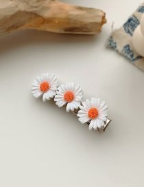 Fashion White Small Daisy Resin Alloy Contrast Duckbill Clip