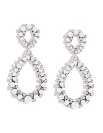 Fashion Ancient Silver Diamond-shaped Pearl Resin Geometric Hollow Alloy Earrings