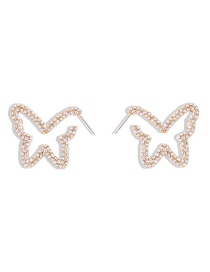 Fashion White Diamond Diamond And Pearl Butterfly Hollow Alloy Earrings