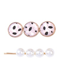 Fashion White Resin Pearl Alloy Hair Clip Set