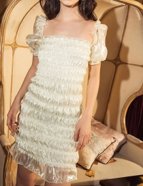Fashion Cream Color Pleated Fungus Bubble Sleeve Cuff Liner Dress