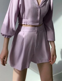 Fashion Purple Draped Semi-elastic Belt Shorts