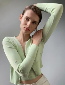 Fashion Green Short-breasted Jacket With Floral Embroidery