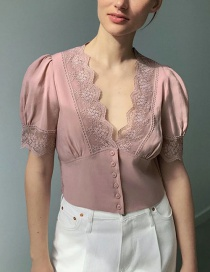 Fashion Leather Pink Lace Stitching V-neck Short Top