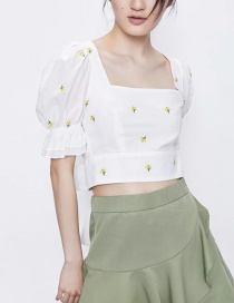 Fashion White Square Collar Embroidered Thread Puff Sleeve Short Top