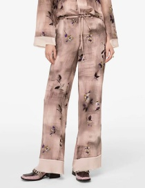 Fashion Color Printed Lace-up Stitching Wide-leg Pants
