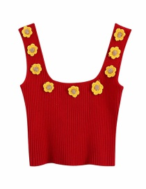 Fashion Red Handmade Crocheted Daisy Knitted Vest