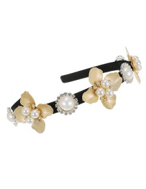 Fashion Golden Alloy Pearl Flower Headband