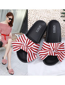 Fashion Red Plus Size Bow Flat Sandals