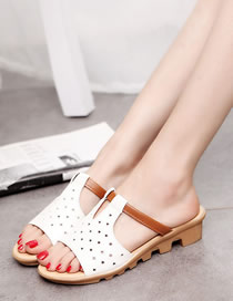 Fashion White Hollow Slope Heel Sandals