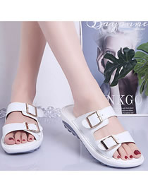 Fashion White Wedge Heel Flat Sandals With Belt Buckle