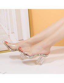 Fashion Yellow Large Size Crystal Thick Heel Fish Mouth Transparent Belt High Heel 凉 Slippers