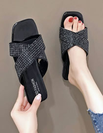 Fashion Black Large Size Flat Bottom Rhinestone Hollow Breathable Cross Strap Sandals And Slippers