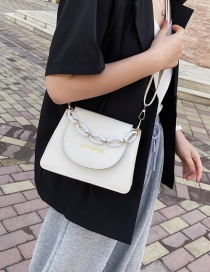 Fashion White Letter Bronzing Chain Clamshell Shoulder Bag
